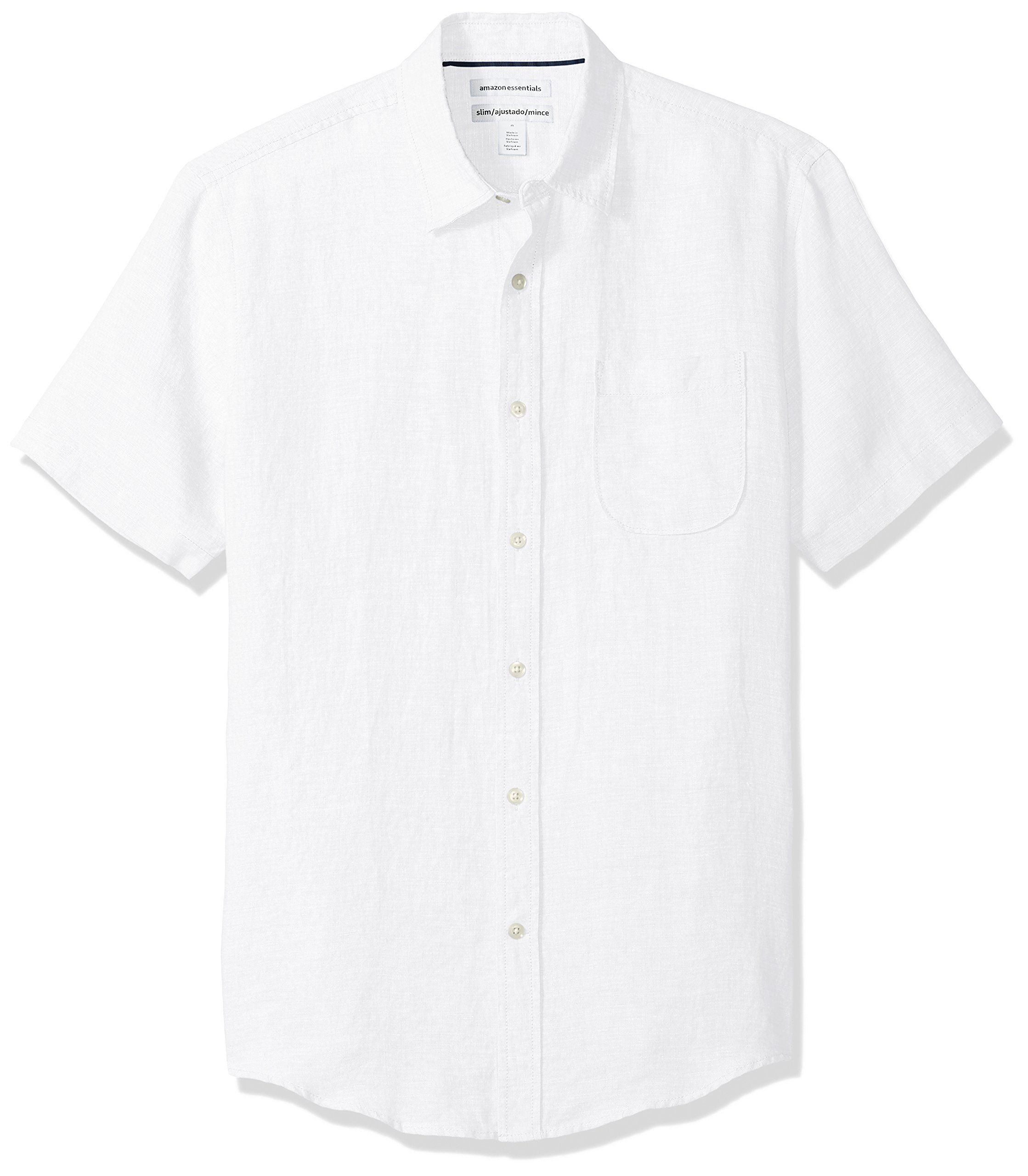 Amazon Essentials Men's Slim-Fit Short-Sleeve Linen Shirt, White, Large by Amazon Essentials