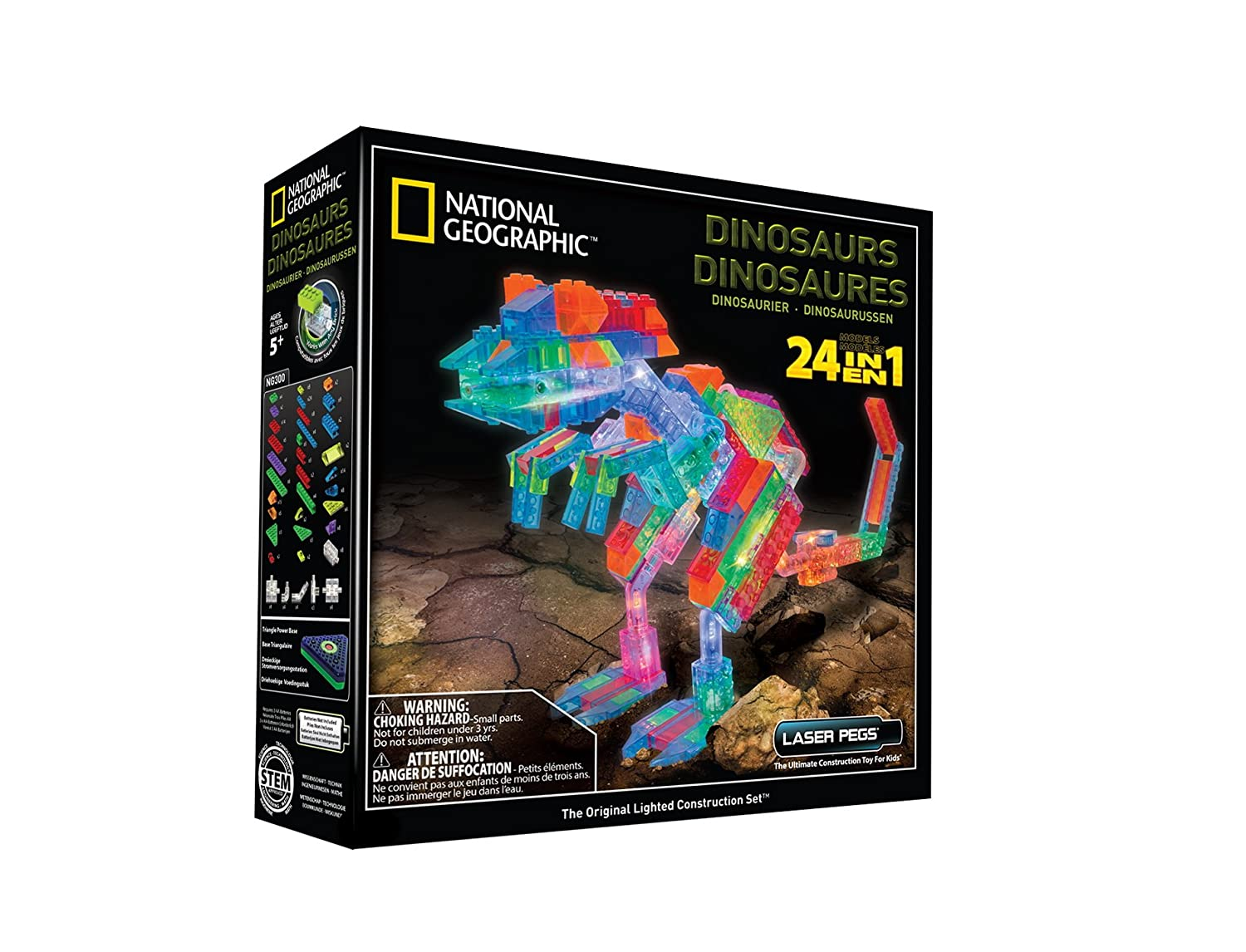 Laser Pegs National Geographic Dinosaurs Building Kit -The base on this Laser Pegs National Geographic Dinosaurs Build Kit is sound activated and compatible with other popular construction kits