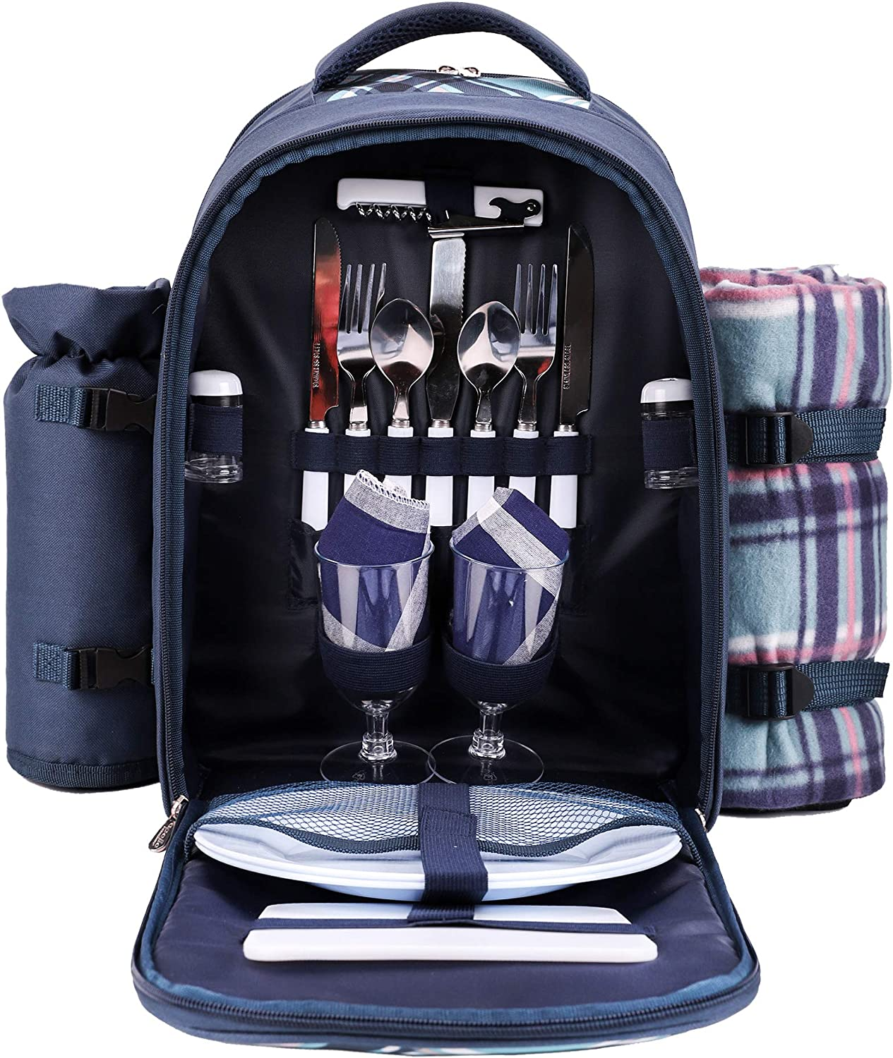 Apollo Walker Picnic Backpack Bag For 2 Person With Cooler Compartment Detachable Bottle Wine Holder Fleece Blanket Plates And Cutlery Blue Garden Outdoor
