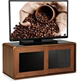 """Centurion Supports Nora Walnut with Gloss Black Beam-Thru Glass Sliding Doors Remote Friendly 26""""-52"""" LED/ OLED / LCD TV Cabinet"""
