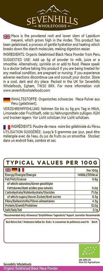 Sevenhills Wholefoods Maca Gelatinizada En Polvo Orgánico 1kg: Amazon.es: Salud y cuidado personal