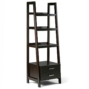 Simpli Home 3AXCSAW-06-BR Sawhorse Solid Wood 72 inch x 24 inch Modern Industrial Ladder Shelf with Storage in Dark Chestnut Brown