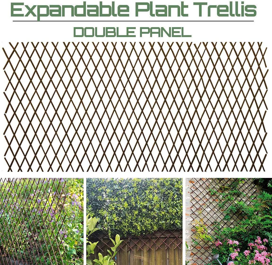 Sumery Nature Willow Trellis Expandable Plant Support Plant Climbing Lattices Trellis Willow Expandable Trellis Fence for Climbing Plants Support 36x92 Inch,Double Panel (2, Willow Wicker Fence)