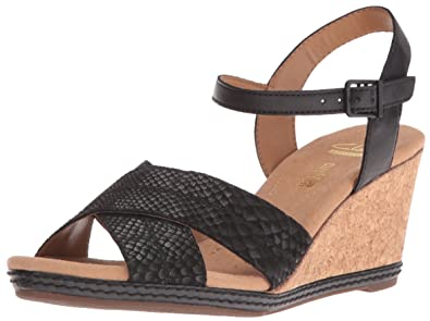 dbaaf492598 CLARKS Women s Helio Latitude Wedge Sandal Black Leather 9 ...