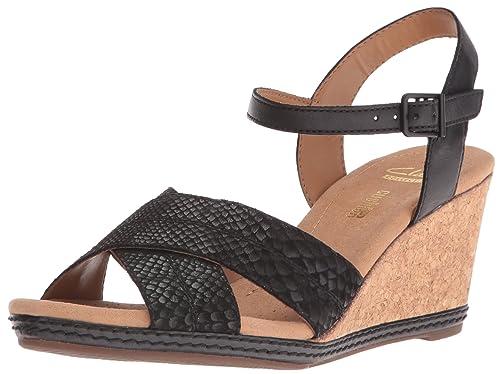 Clarks Women's Helio Latitude Wedge Sandal, Black Leather, ...