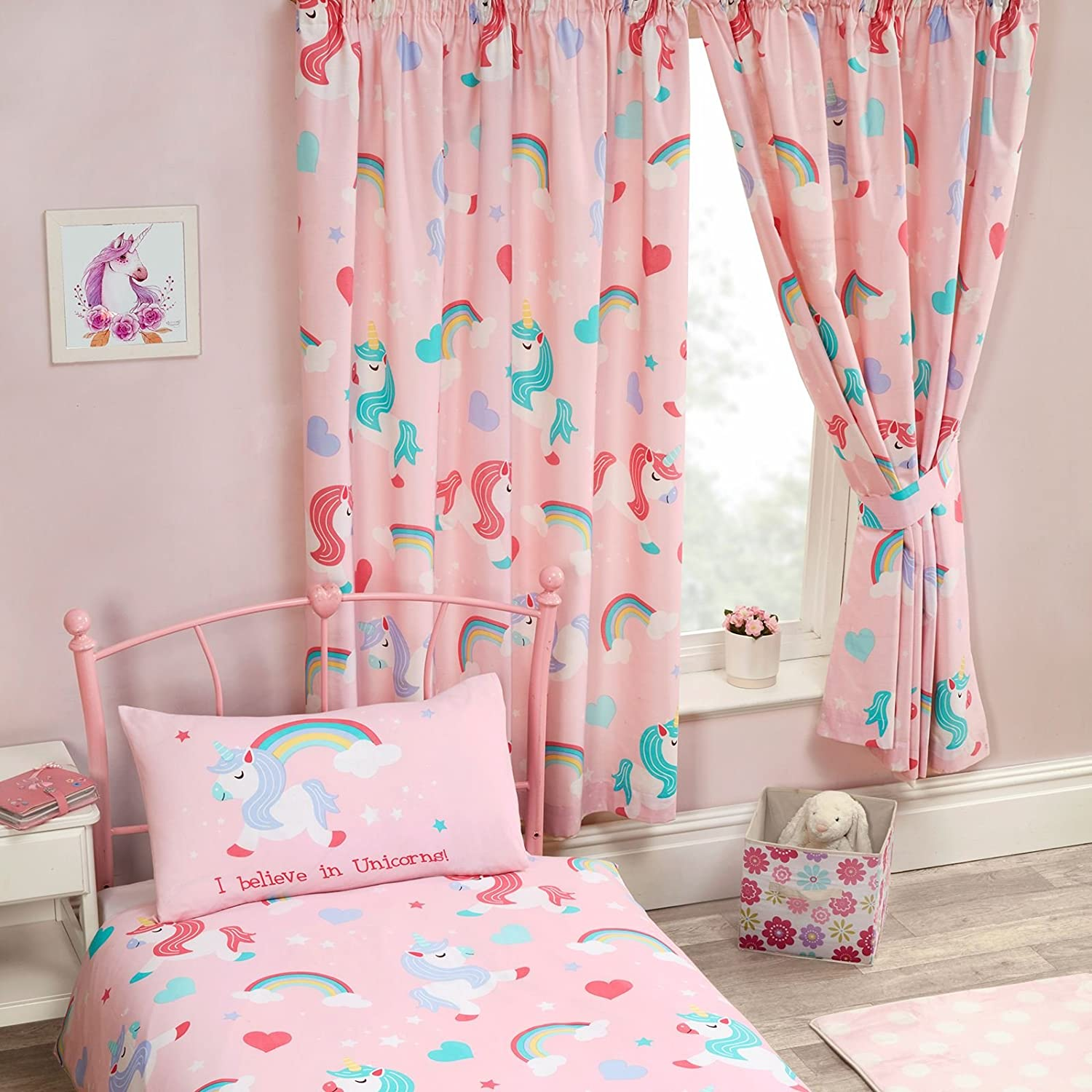 Price Right Home I Believe In Unicorns Lined Curtains 66 x 72 Drop (168cm x 183cm) Rapport