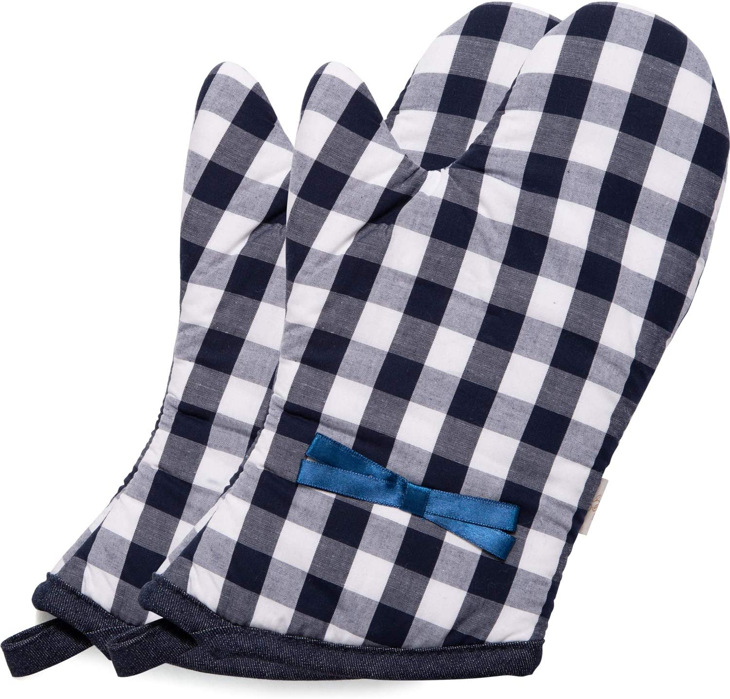 NEOVIVA Quilted Cotton Heat Resistant Adult Oven Mitts, Set of 2, Checked Navy