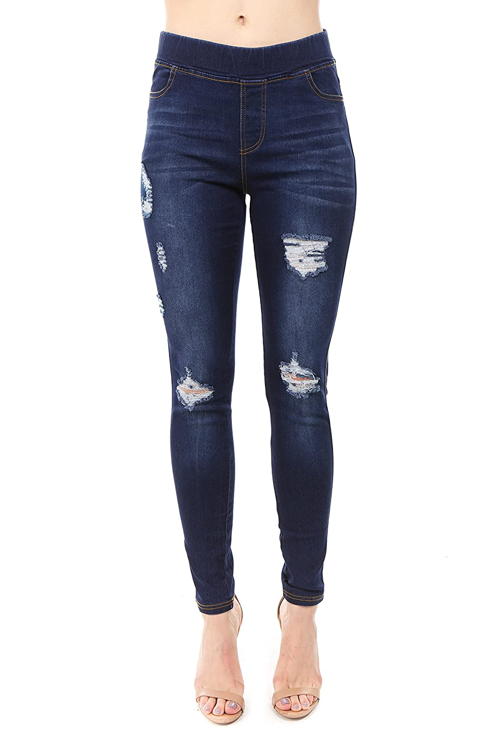 Dk bluee_dis3 Trinity Jeans Women's Distressed Ripped Cut Pull On Stretch Skinny Denim Jeggings