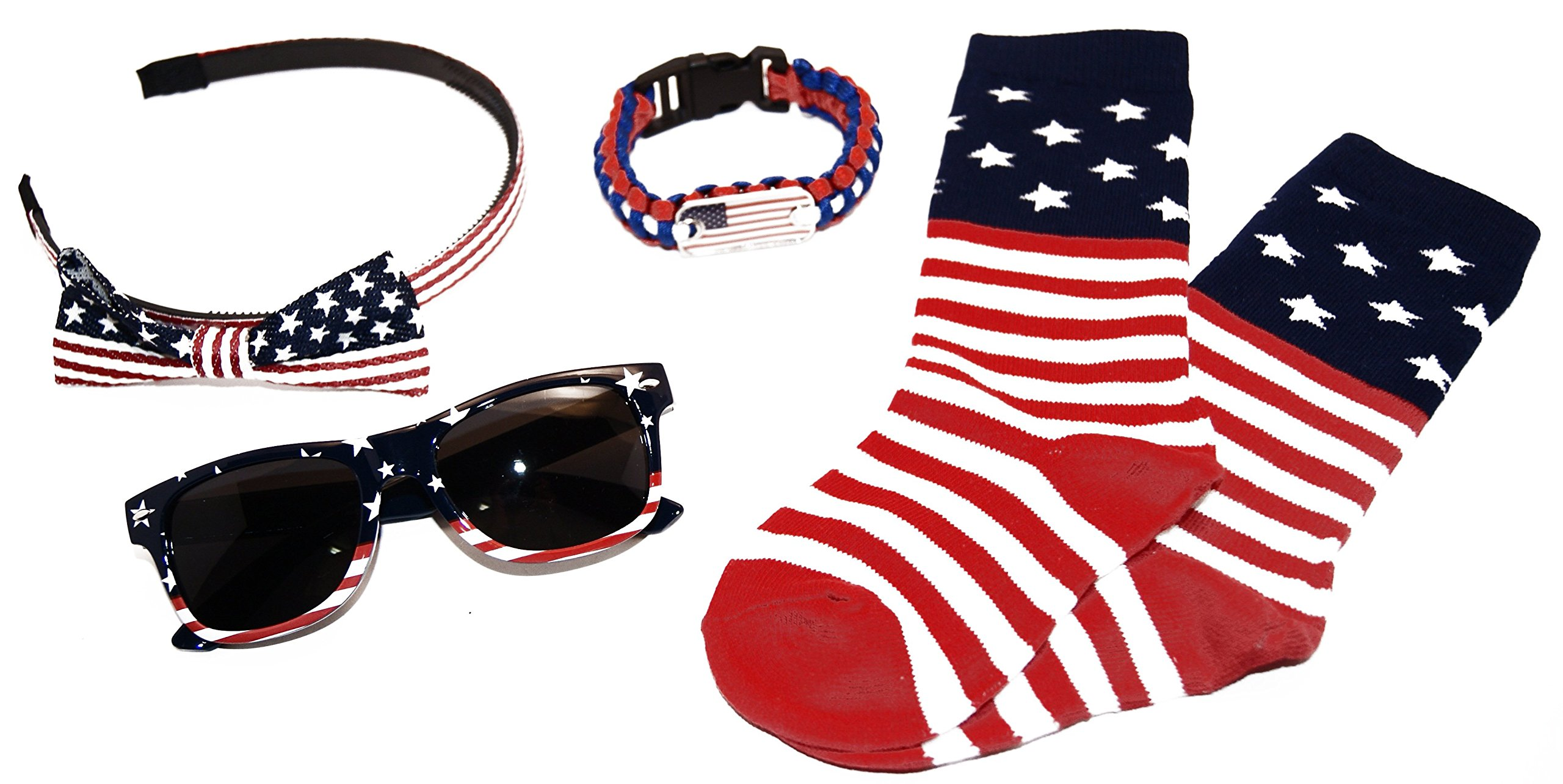 Little Miss USA Accessory 6 Piece Kit for Girls 2 to 6 Socks/Sunglasses/Small Bow