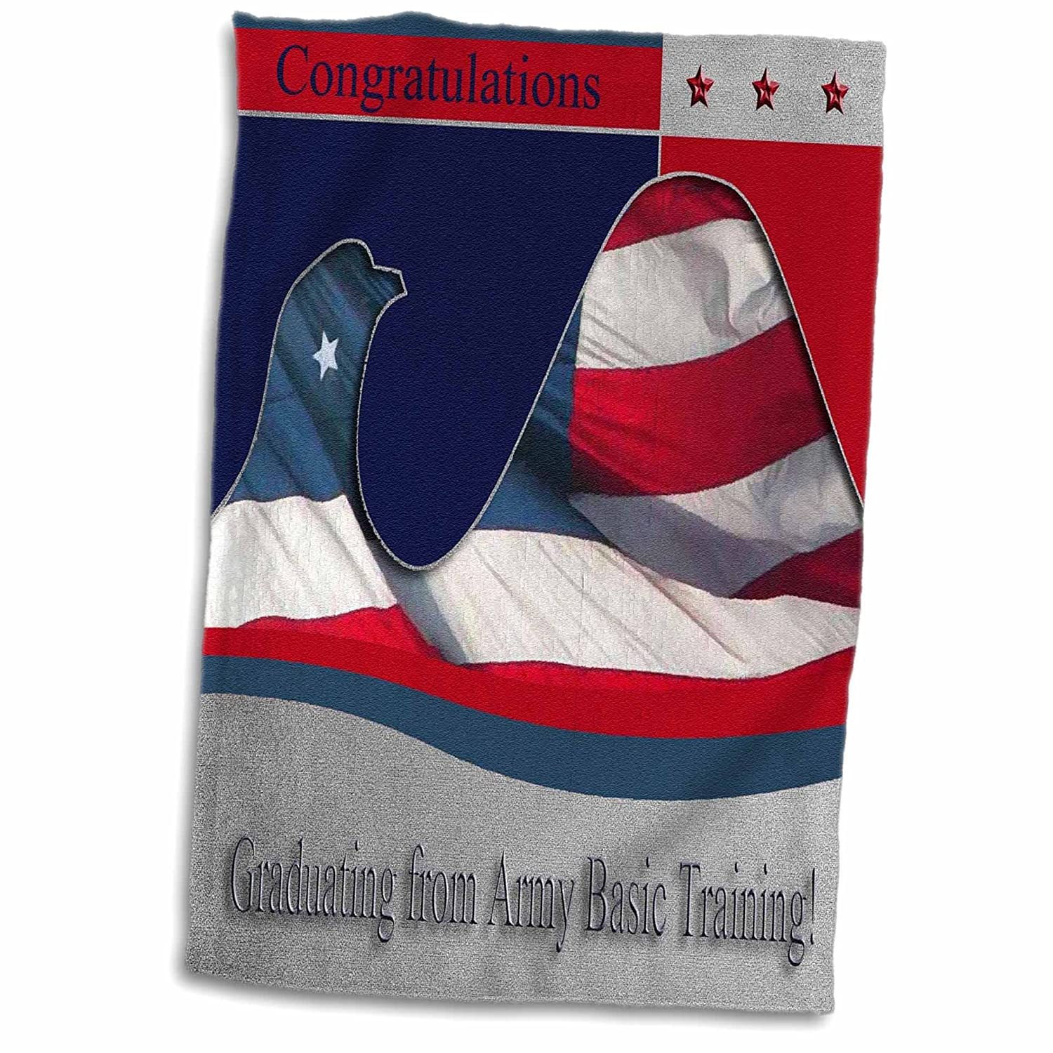 3D Rose Army Basic Training Congratulations - Flag Eagle TWL_40430_1 Towel 15' x 22'