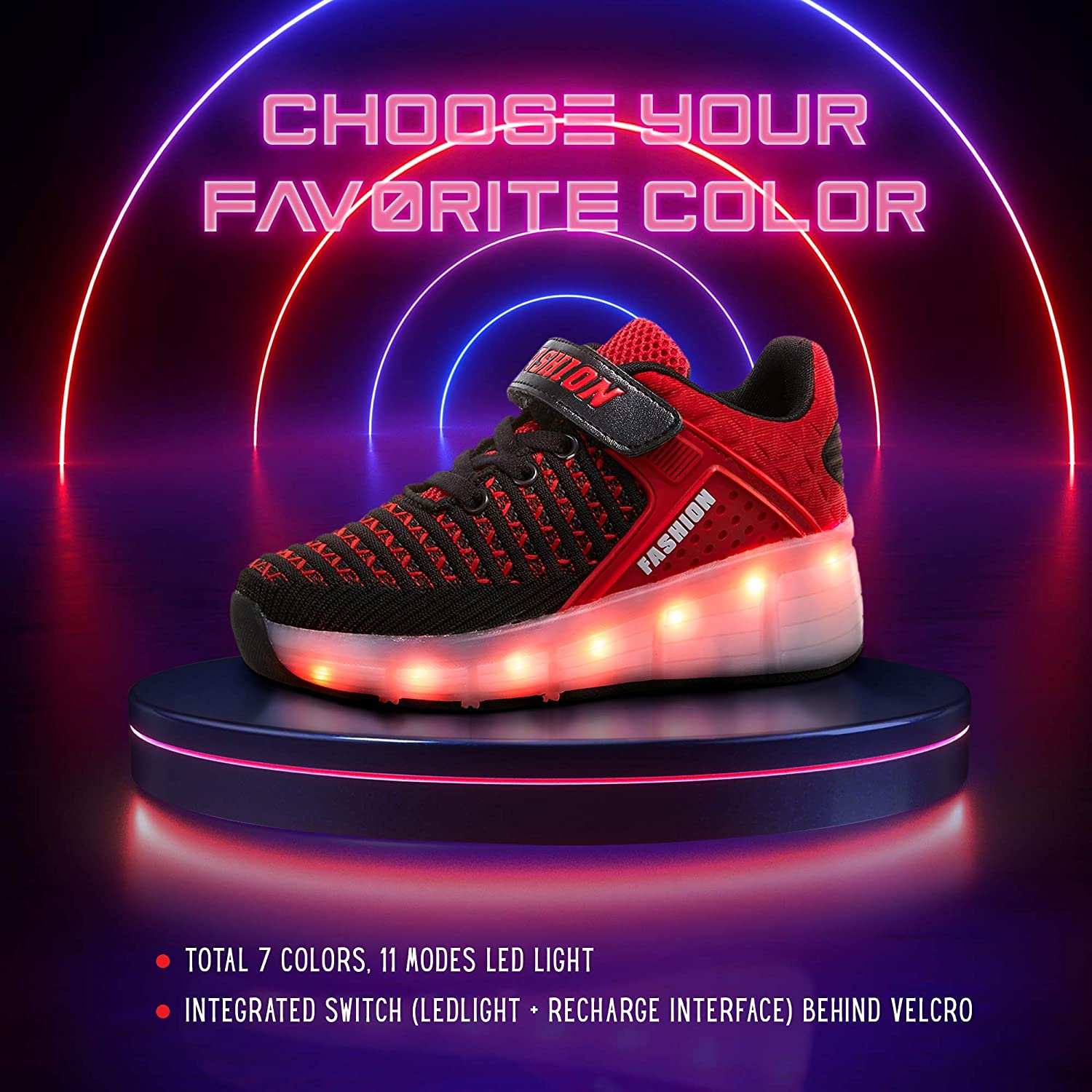 SDSPEED 7 Colors LED Rechargeable Kids Roller Skate Shoes - 3