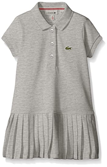 73ee6b6cbabc Lacoste Big Girls  Short Sleeve Pique Polo Dress with Pleated Bottom ...