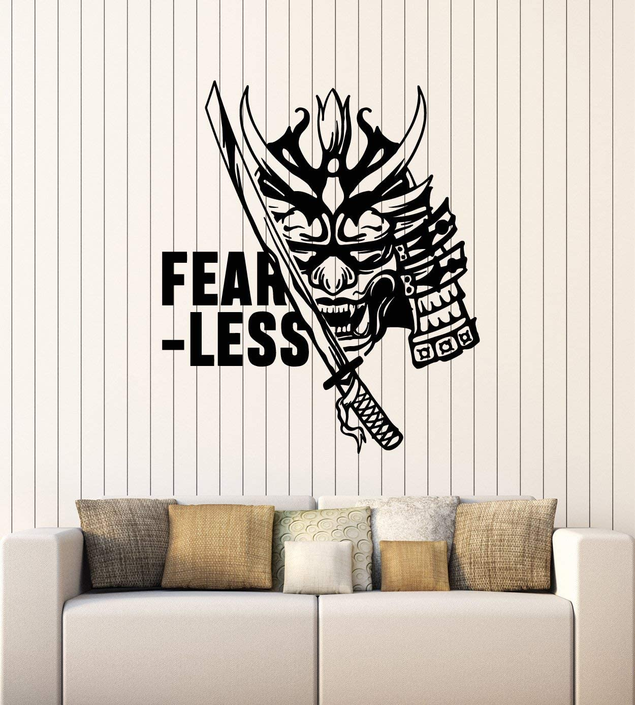 Vinyl Wall Decal Samurai Japanese Fearless Warrior Face Mask Catana Stickers Mural Large Decor (g2692) Black