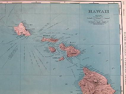 Amazon hawaii oahu maui kauai lanai honolulu pacific distances hawaii oahu maui kauai lanai honolulu pacific distances 1907 old large map gumiabroncs Choice Image