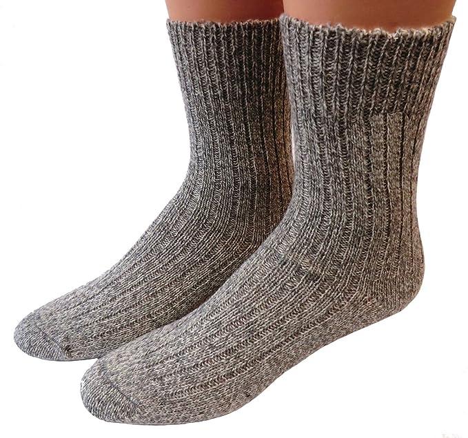Unisex calcetines sin goma 100% Lana gris moteado - lana, gris, 100%