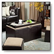 Garrett Coffee Table Storage Ottoman with Tray with Side Ottomans
