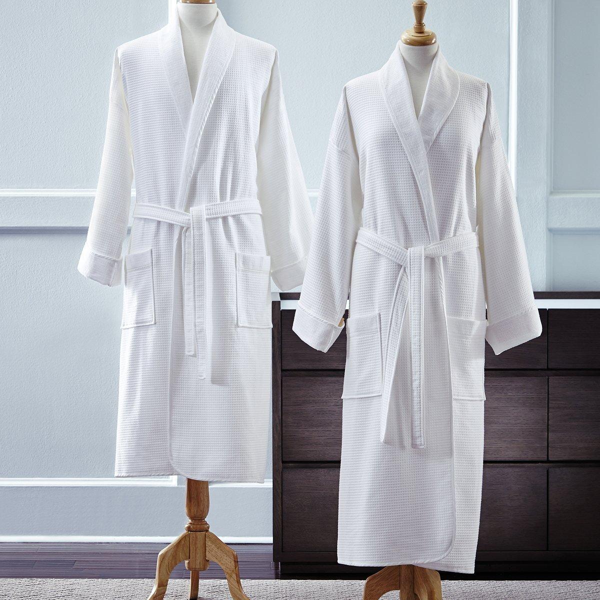 Sferra Berkley Bath Robe, Terry/ Waffle, White