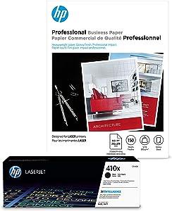 HP 410X Black High Yield Toner + HP Professional Paper, Glossy, Laser, 8.5 x 11, 150 sheets