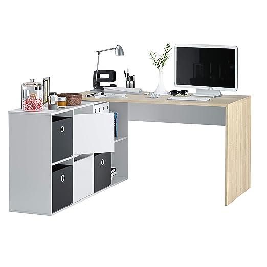 Habitdesign - Mesa Escritorio, Mesa despacho Reversible, Estudio Modelo Adapta XL, Medidas: (Roble Canadian y Blanco Artik)