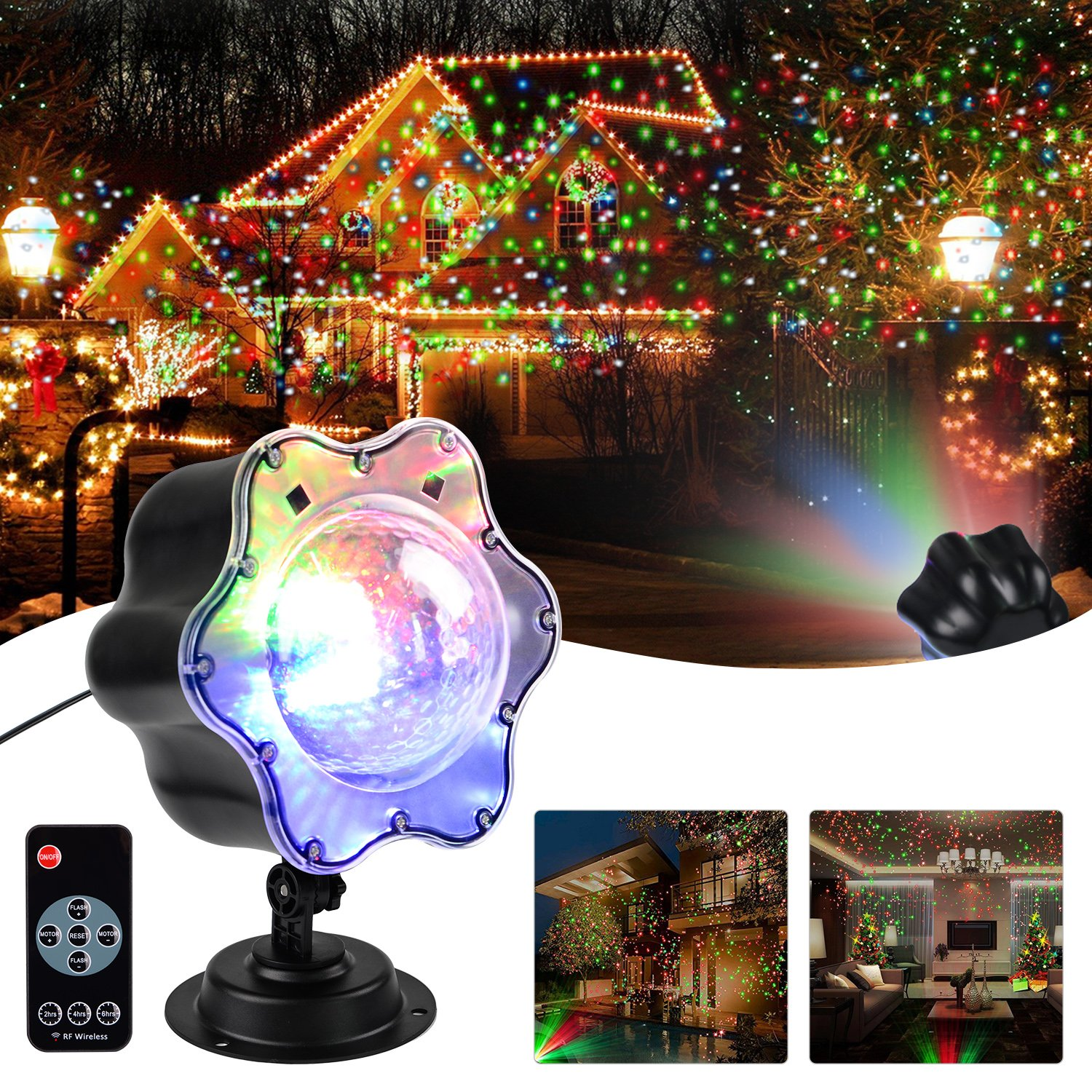 Shower star decorative lighting projectors indoor outdoor landscape lights snowfall rotating waterproof projector lamps moving colored led lights for