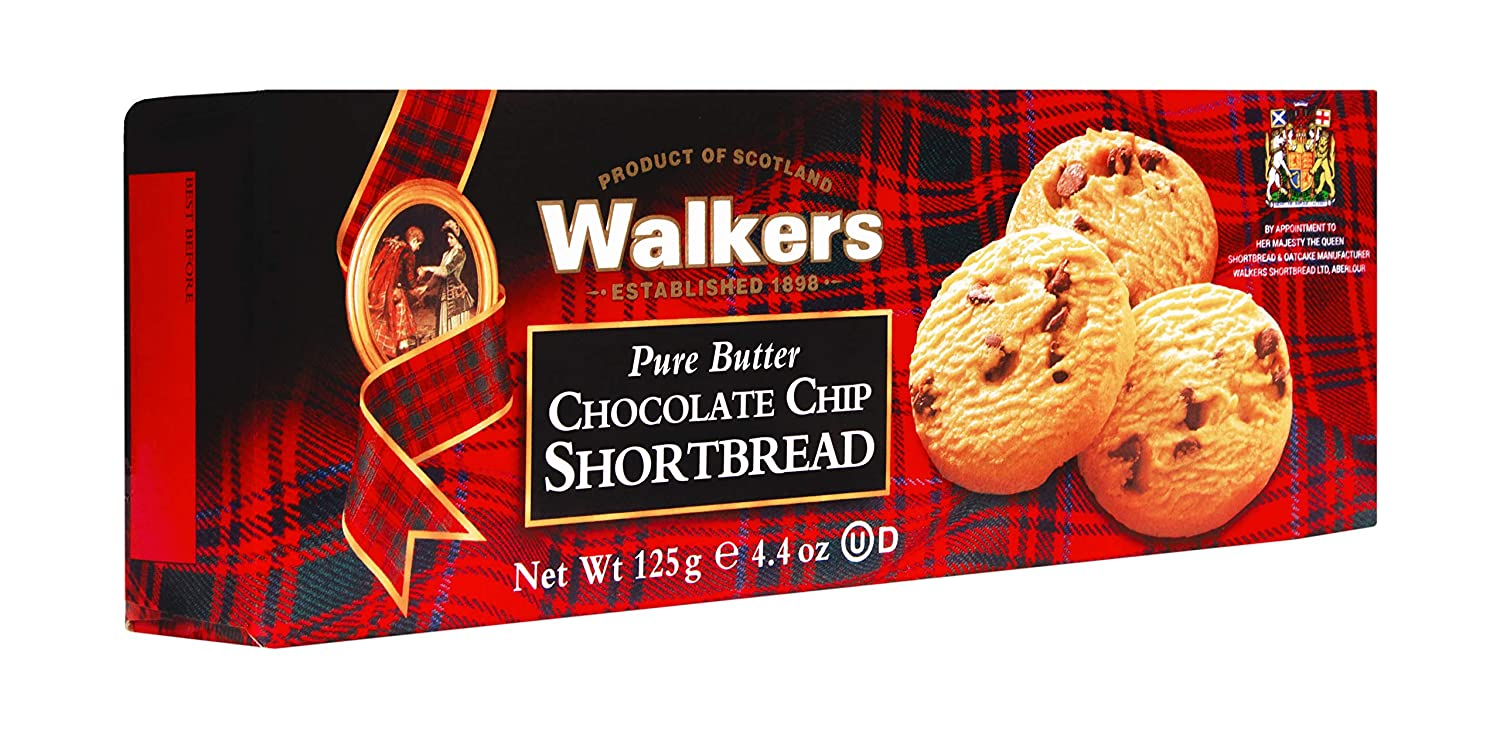 Amazon Com Walkers Shortbread Chocolate Chip Shortbread Cookies 4 4 Ounce Box Pack Of 4 Packaged Shortbread Snack Cookies Grocery Gourmet Food