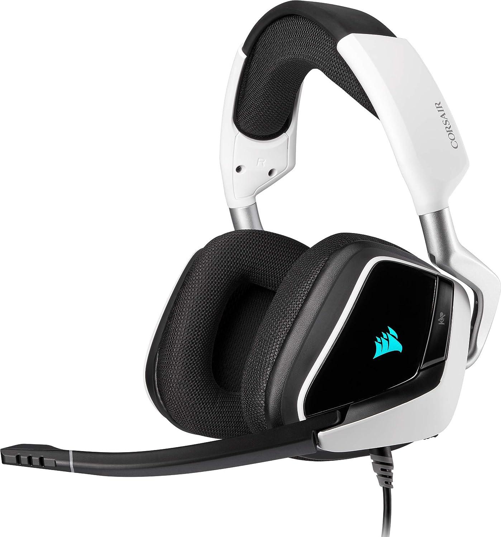 Corsair Void Elite RGB USB Auriculares para Juegos (7.1 Sonido Envolvente, Micrófono omnidireccional, Personalizable Iluminación, Microfibra de Rejilla Almohadillas, Construcción Aluminio) Blanco
