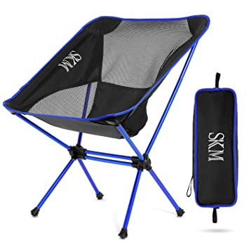 SKM Silla Plegable Camping, Portátil con Bolsa, Capacidad hasta 145kg/320 LB, Ideal para Camping Senderismo Viajes Caza Pesca Jardin Barbacoa