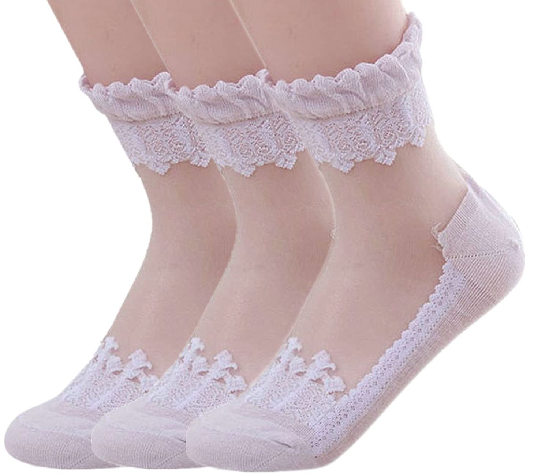 American Trends Women's Lace Transparent Elastic Ankle Socks ATACAS0583AHA3P