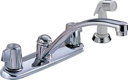Superbe Delta 2400LF Classic Two Handle Kitchen Faucet With Spray, Chrome