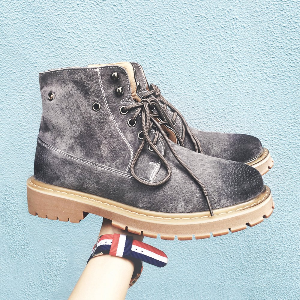 HL-PYL - Stiefel koreanischen Martin Stiefel englischen High Schuh Männer kurze Stiefel Retro Stiefel 43 Grau