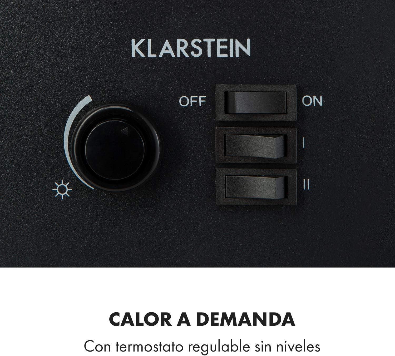 900//1800 W de Potencia para 36 m/² Vista panor/ámica Chimenea el/éctrica KLARSTEIN Leoben Efecto llameante LED Independiente del Calor regulador-termostato no se recalienta Blanco