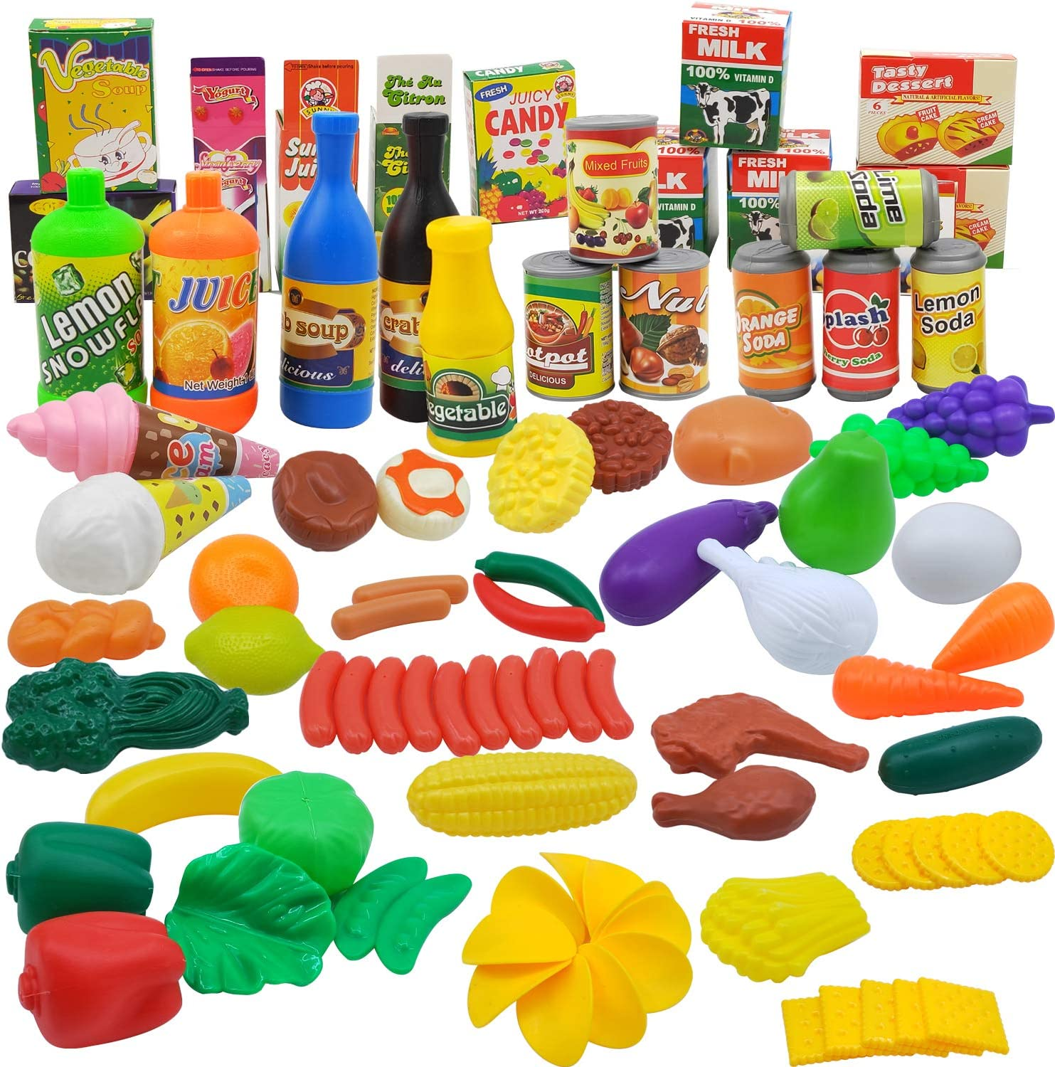 No-branded Pretend Play Food Set - 90 Pc Fake Foods & Play Kitchen Accessories Toys Playset for Kids Toddlers Educational & Fun