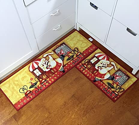 EUCH Non Slip Rubber Backing Carpet Kitchen Mat Doormat Runner Bathroom Rug  2 Piece Sets