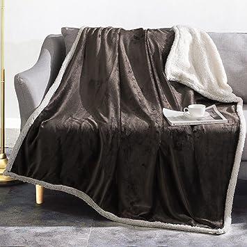 Amazon Sherpa Oversized Throw Blanket 40x40 Brown Reversible Beauteous Charlotte Ruffled Throw Blanket