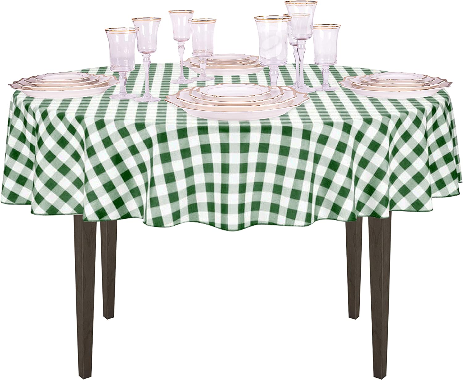Amazon.com: LinenTablecloth 70-Inch Round Polyester Tablecloth Green & White  Checker: Home & Kitchen