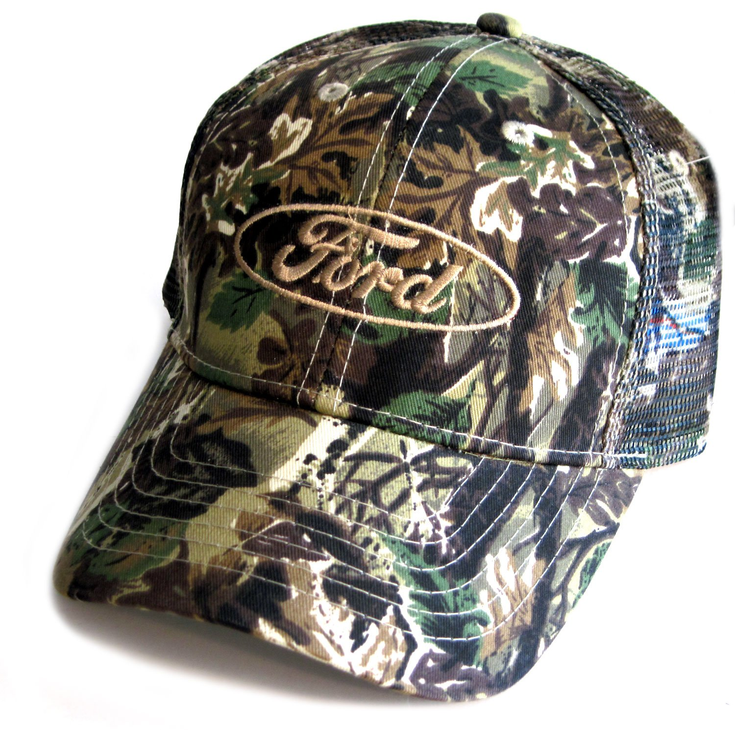 Gregs Automotive Ford Camo Camouflage Mesh Back Hat Cap Bundle with Driving Style Decal Ford Camouflage 227-MESH