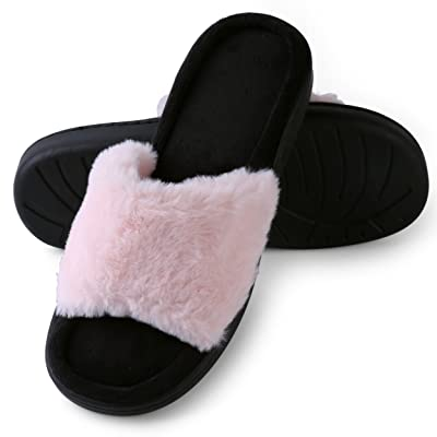 Amazon.com | Aerusi Faux Fur Fluffy Plush Single Strap Flat Open Toe Slide On Slipper Sandals | Slippers