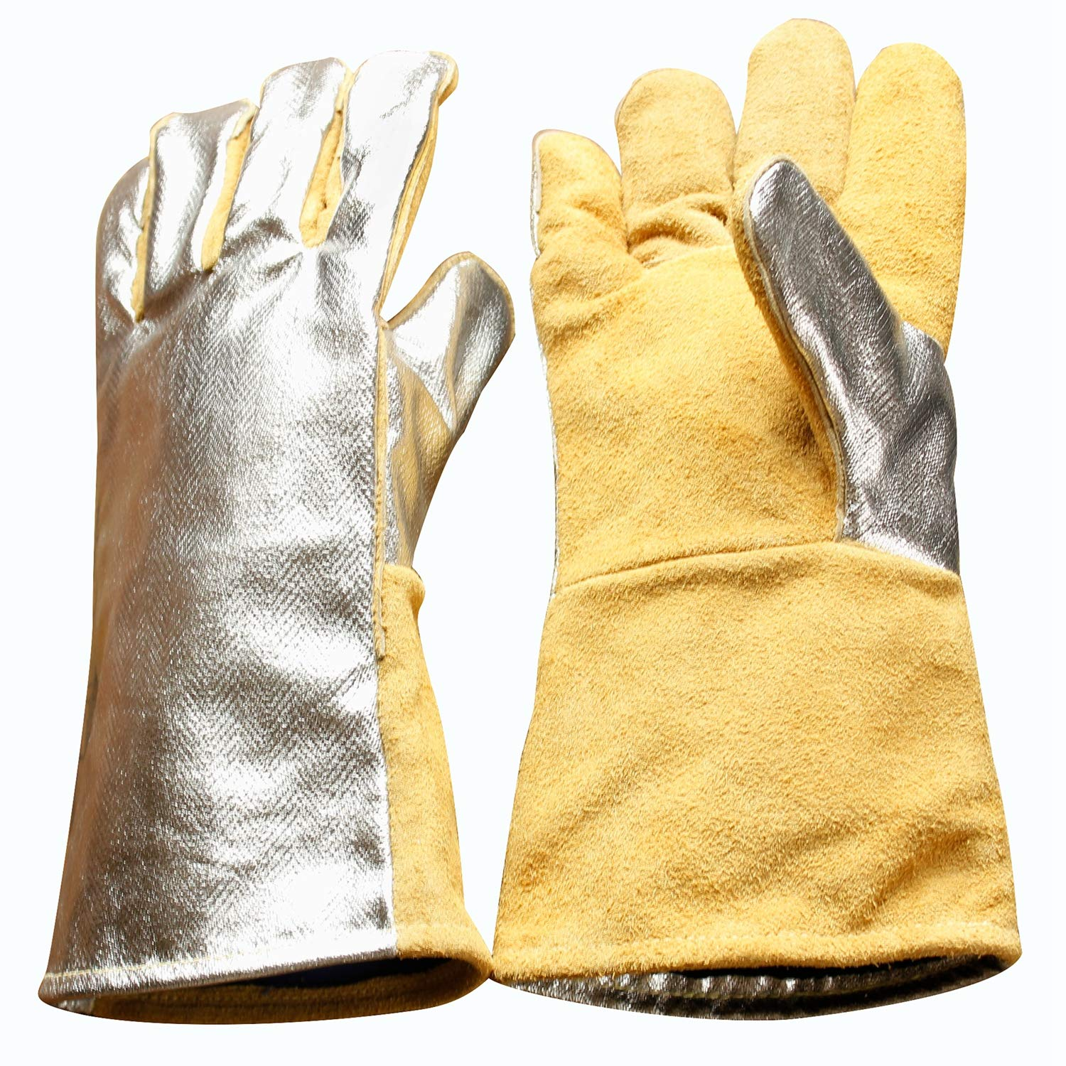 High Visibility Welding Gloves With Reflective Strip Heat and Fire Resistant Reflective Aluminum Cowhide Safety Gloves 14'' XL with Kevlar Stitching (Silver) by GENERIC (Image #1)
