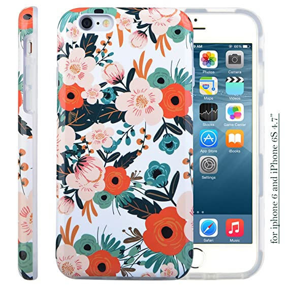 newest collection f9f0b 292d9 iPhone 6S Case for Girls, Cute 6S Case, Dimaka Floral Pattern Double Layer  Protective Case with Fancy Glossy Surface for iPhone 6 and 6S 4.7