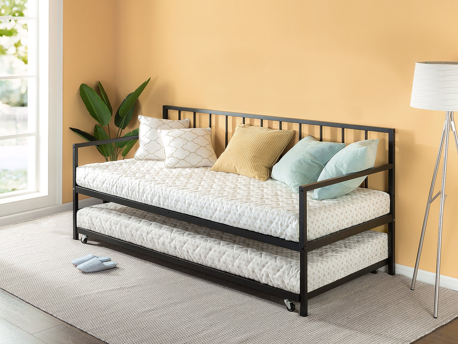 Zinus Newport Twin Daybed and Trundle Set / Premium Steel Slat Support / Daybed and Roll Out Trundle Accommodate Twin Size Mattresses Sold Separately