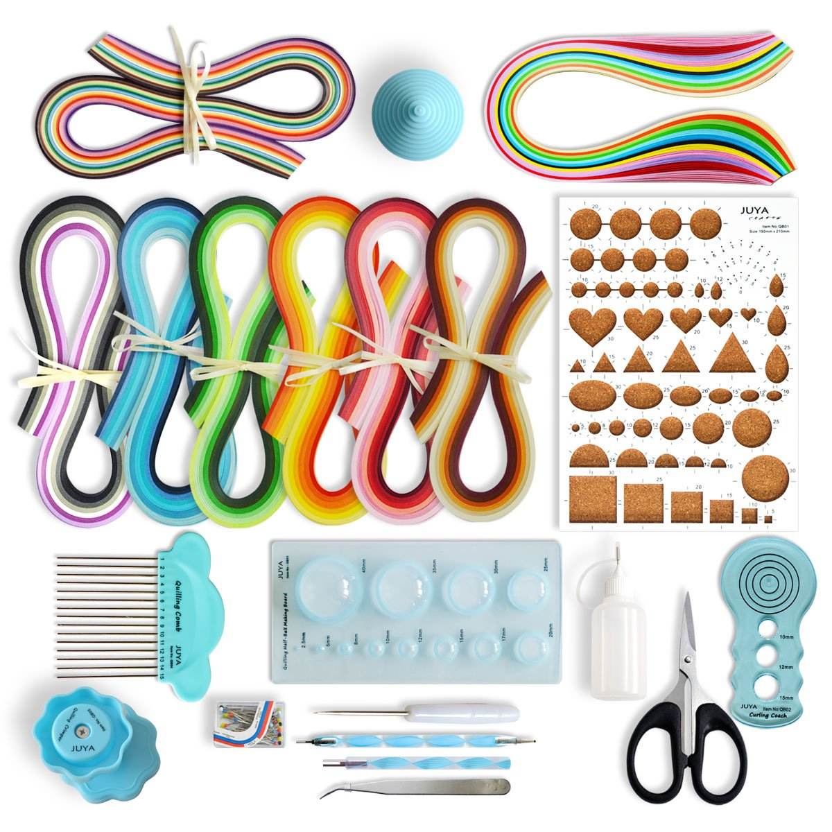 JUYA Paper Quilling Kits 960 Strips 13 Tools (Blue Tools, Paper Width 3mm)