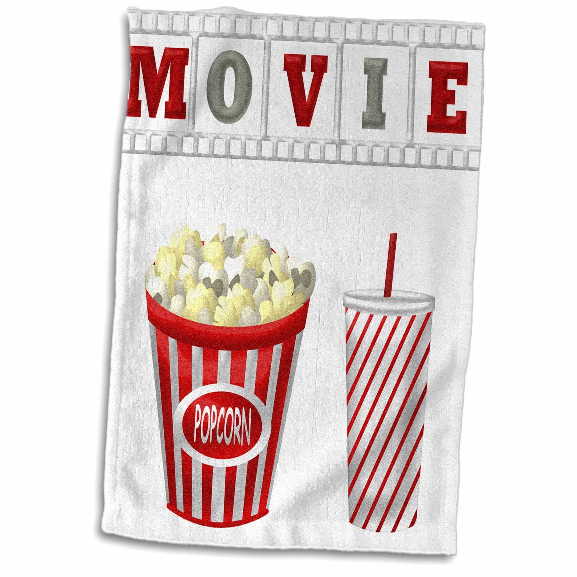 3D Rose The Word Movie with Popcorn and Soda Illustration in Hand Towel, 15'' x 22'', Red/White/Gray