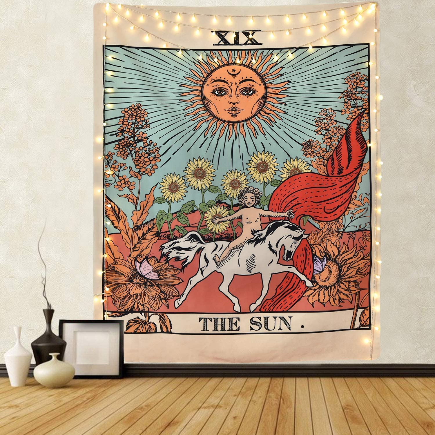 Popular HandicraftsTarot Tapestry The Sun Tapestry Medieval Europe Divination Tapestry Wall Hanging Tapestries Mysterious Wall Tapestry for Home Décor