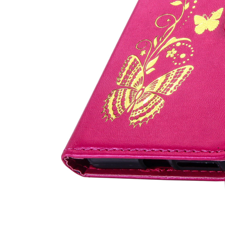 Ecoway Bronzante Papillon Fleur imprim/é /étui en cuir PU Cuir Flip Magn/étique Portefeuille Etui Housse de Protection Coque /Étui Case Cover avec Stand Support Avec des Housse en cuir pour Sony Xperia E5 Coque pour Sony Xperia E5