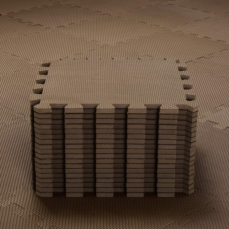 qqpp Alfombra Puzzle para Niños Bebe Infantil - Suelo de Goma EVA Suave. 18 Piezas (30*30*1cm), Marrón.QQC-Fb18N
