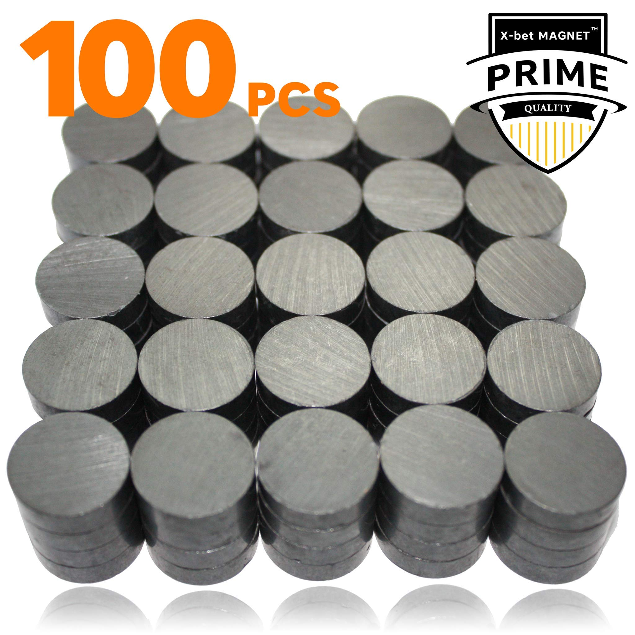 X-bet MAGNET ™ 100 pcs Ceramic Magnets - Tiny 18 mm (.709 inch) Round Disc - Flat Circle Magnets Bulk for Crafts, Science & hobbies - Perfect for Refrigerator, Whiteboard, Fridge by X-bet MAGNET (Image #1)