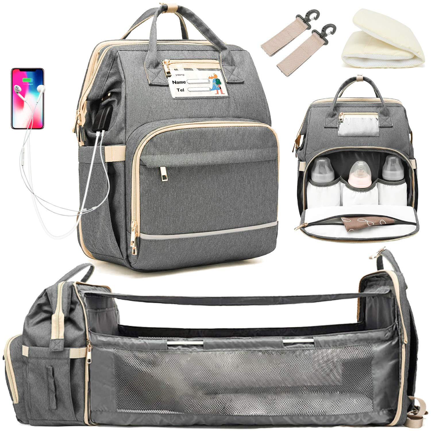 Multi Functional Diaper Bag Backpack with USB Mummy Monogrammed Baby Diaper Bag Backpack with USB Baby Shower Gift