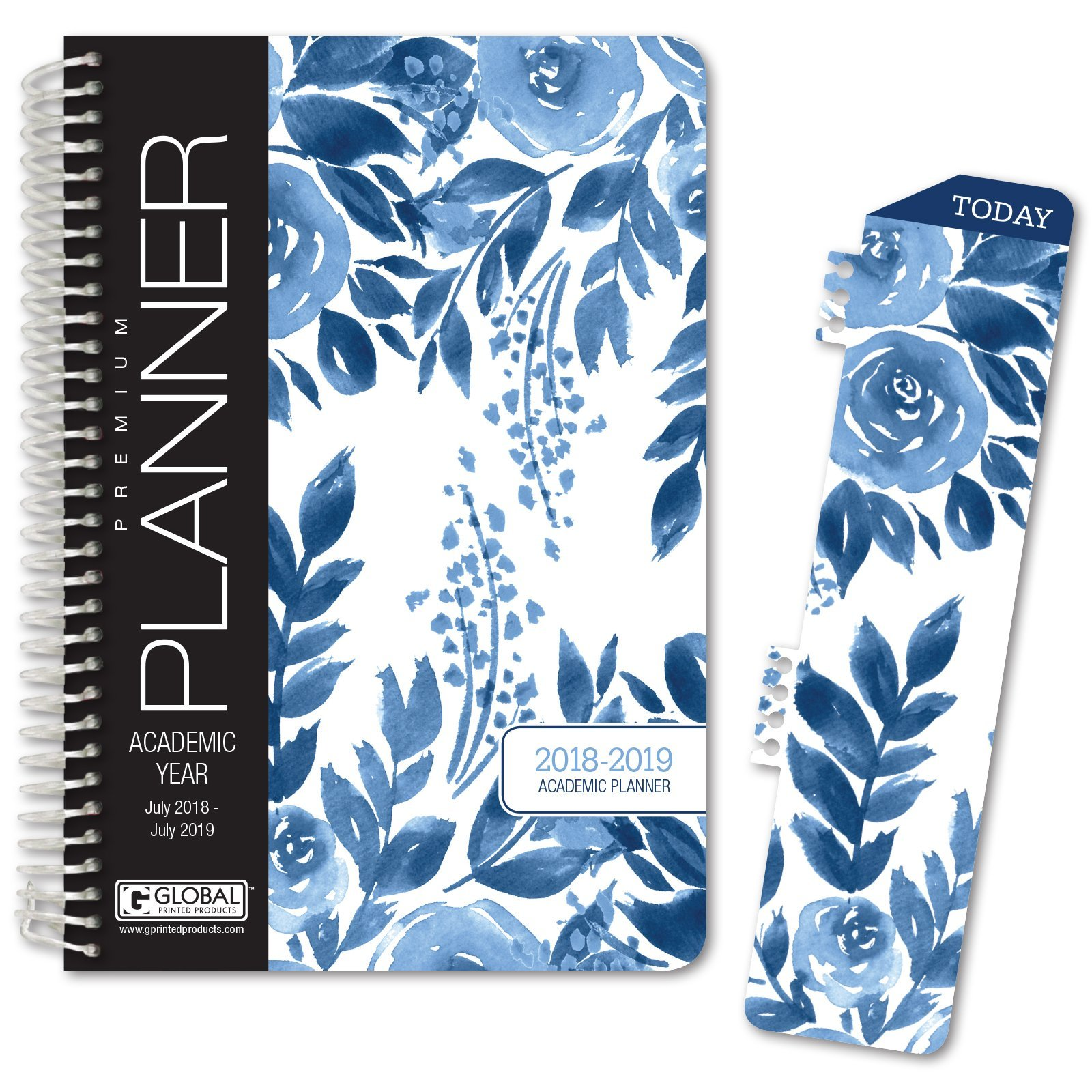 HARDCOVER Academic Year Planner 2018-2019 - 5.5''x8'' Daily Planner/Weekly Planner/Monthly Planner/Yearly Agenda. Bonus Bookmark (Blue Bloom)
