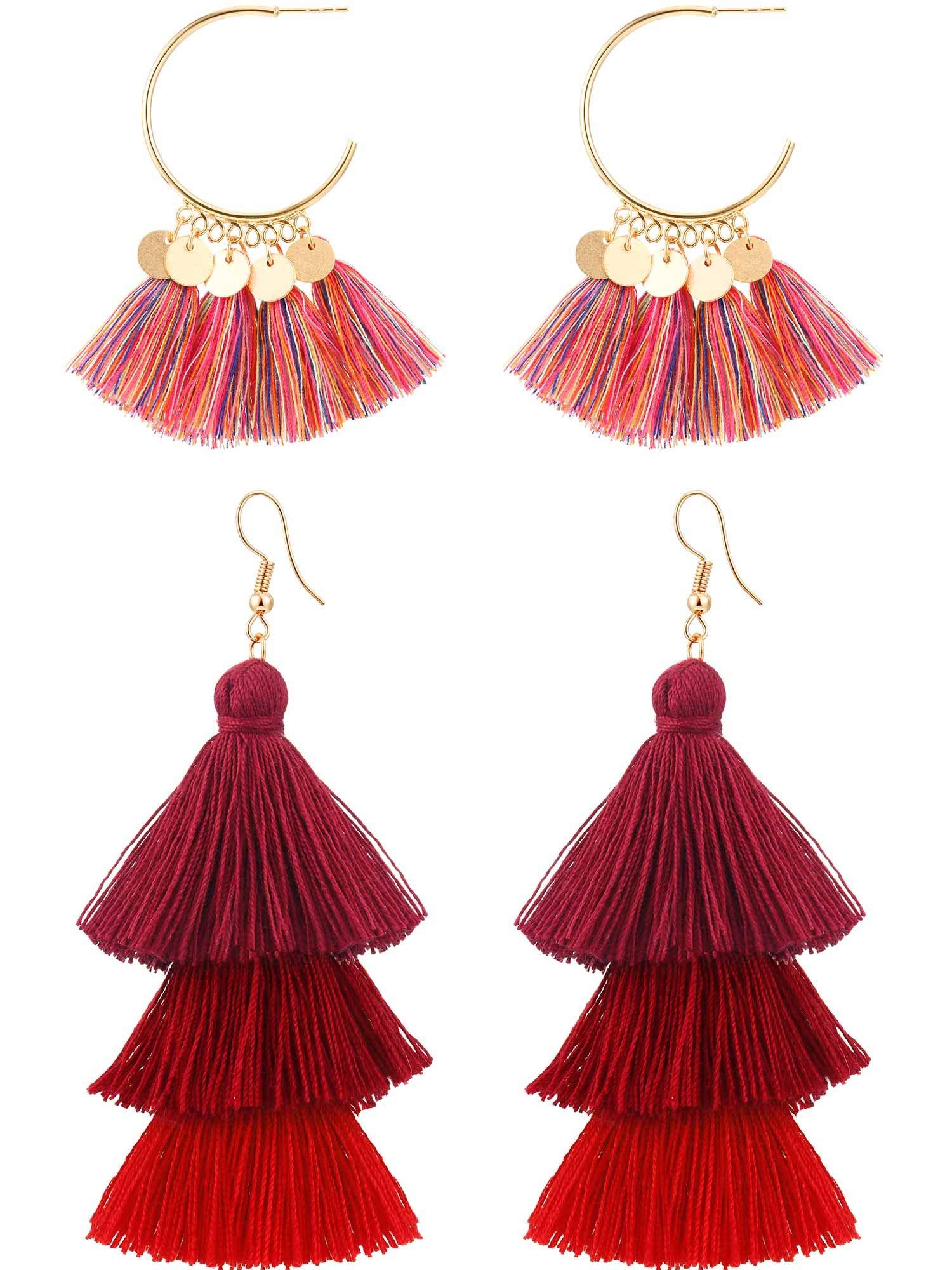 Boao 2 Pairs Tassel Earrings Women Girls Bohemian Layered Drop Dangle Earrings Tiered Thread Tassel Earrings (Mix Red)