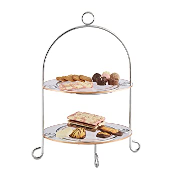 Relaxdays Présentoir à gâteaux 2 étages étagère à muffin serviteur ...